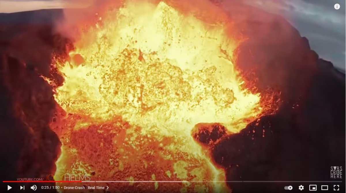 Impresionante video muestra cómo un dron se estrella contra la lava de un volcán en erupción en Islandia