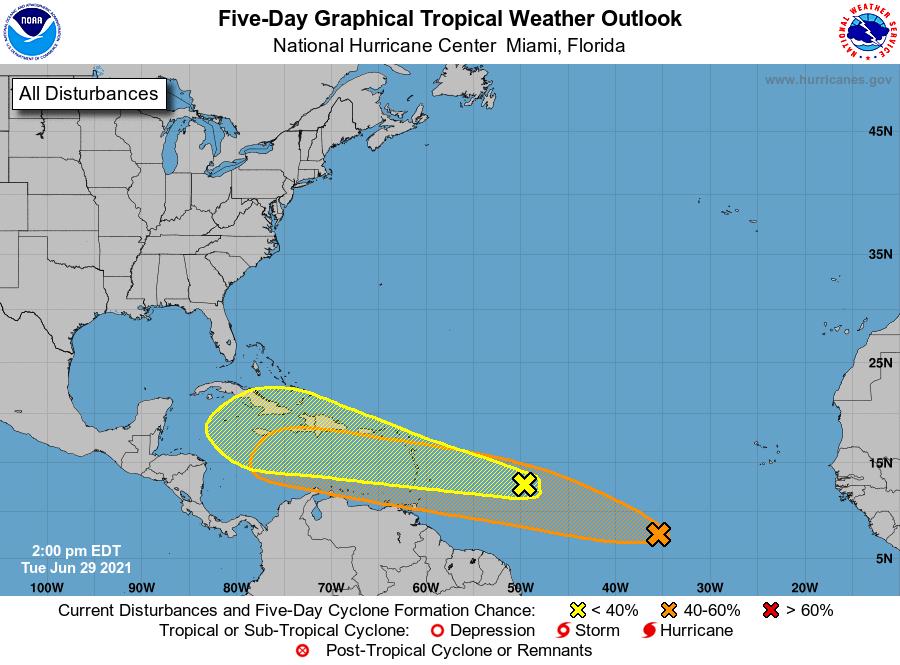 Dos sistemas de baja presión que avanzan en el Atlántico podrían convertirse en depresiones tropicales y acercarse