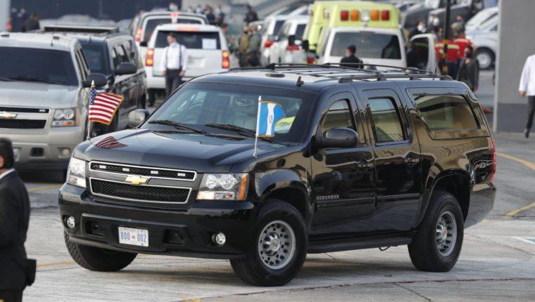 Este es el vehículo en el que se movilizará la vicepresidenta de Estados Unidos, Kamala Harris. (Foto Prensa lIbre: Esbin García)