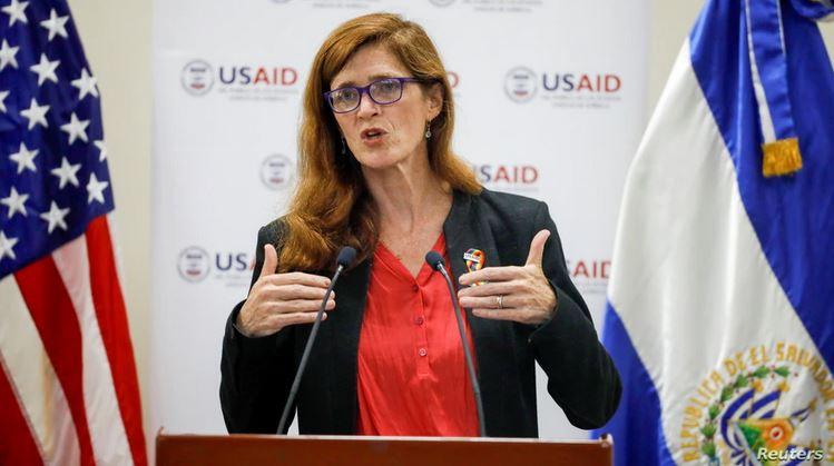 Samantha Power, administradora de la Agencia de Estados Unidos para el Desarrollo Internacional (USAID), pronuncia un discurso durante una visita a El Salvador en la Universidad Centroamericana en San Salvador, El Salvador, el 14 de junio de 2021. (Foto Prensa Libre: Reuters/Voz de América)