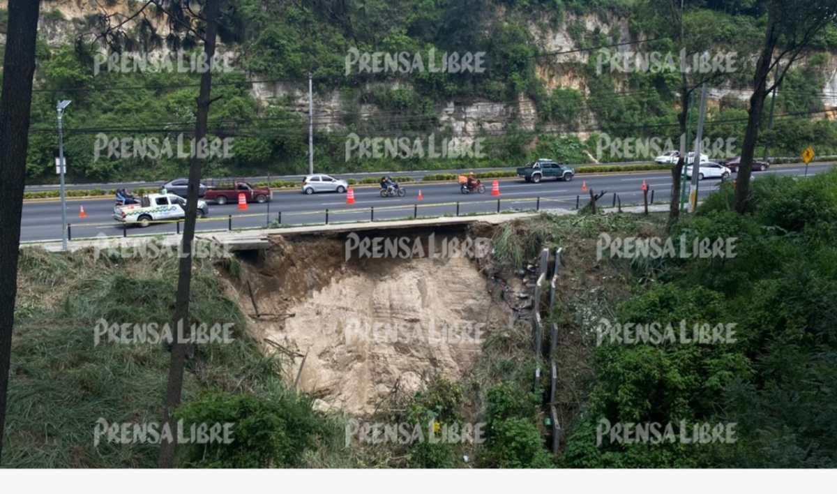 Socavón en Villa Nueva podría complicar el tránsito de tres municipios durante dos semanas y autoridades detallan la situación