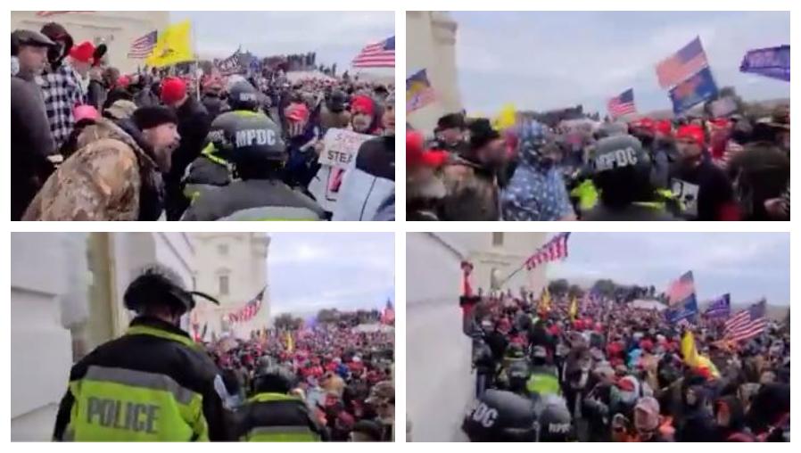 Nuevo video muestra a la policía siendo golpeada durante disturbios en el Capitolio de EE. UU.