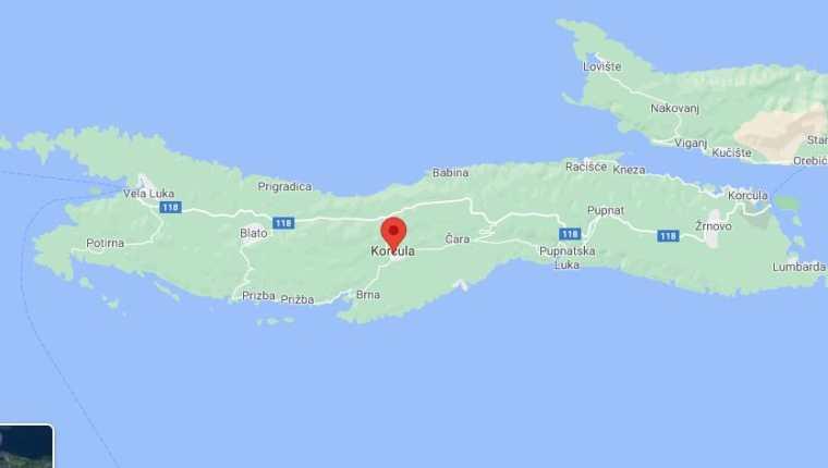 Imagen satelital de Google Maps de la isla de Korcula, Croacia. (Foto Prensa Libre: Google Maps)