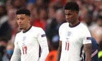 Jadon Sancho y Marcus Rashford fallaron los penaltis en la derrota de Inglaterra en la tanda de penaltis. (REUTERS)