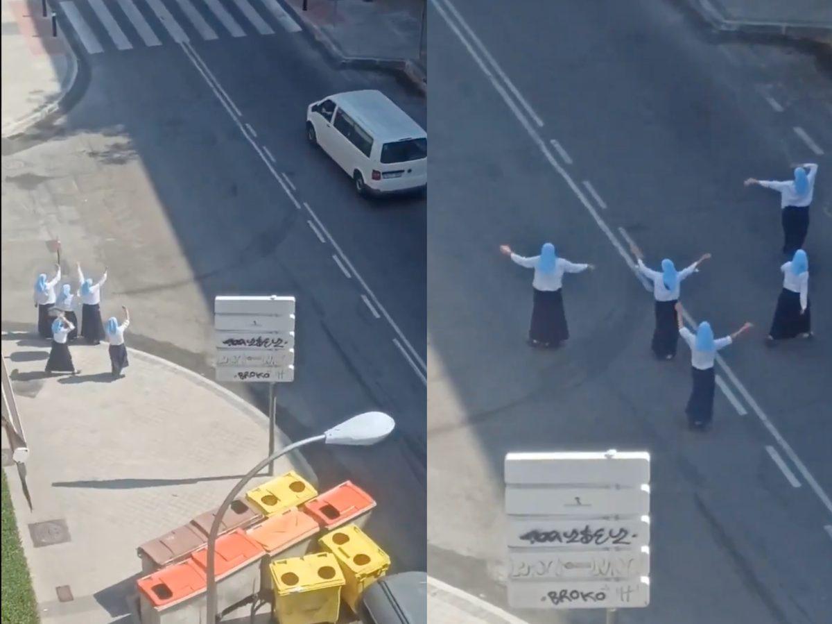 Video: Monjas se viralizan por la peculiar manera con la que se despidieron de una persona en plena calle