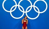 Gabriela Santis se entrenó en el  Tokyo Aquatics Centre, donde el lunes próximo competirá en los 200 metros libres. (Foto COG).