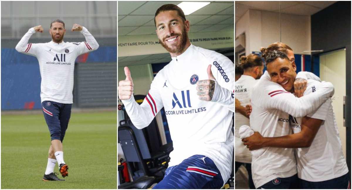 El excapitán del Real Madrid, Sergio Ramos, se entrena por primera vez con el París Saint-Germain