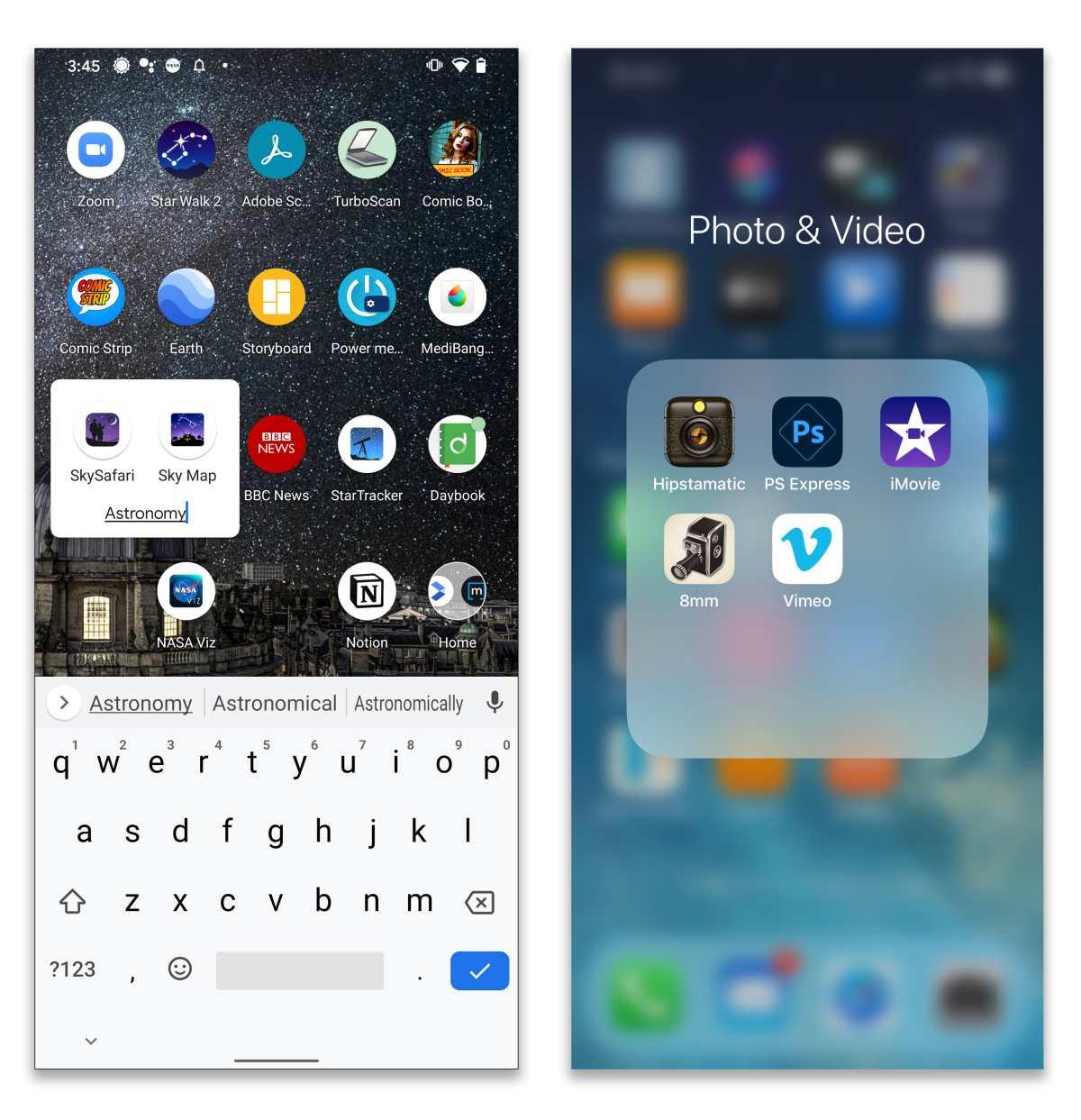 Tanto Android, izquierda como iOS te permiten arrastrar íconos de aplicaciones uno encima del otro para crear carpetas personalizadas en tu pantalla de inicio. (a través de The New York Times).
