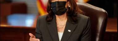 La vicepresidenta de EE. UU., Kamala Harris, divulgó la estrategia de la administración Biden para abordar la inmigración irregular desde Centroamérica el 29 de julio de 2021. (Foto Prensa Libre: vía VOA)