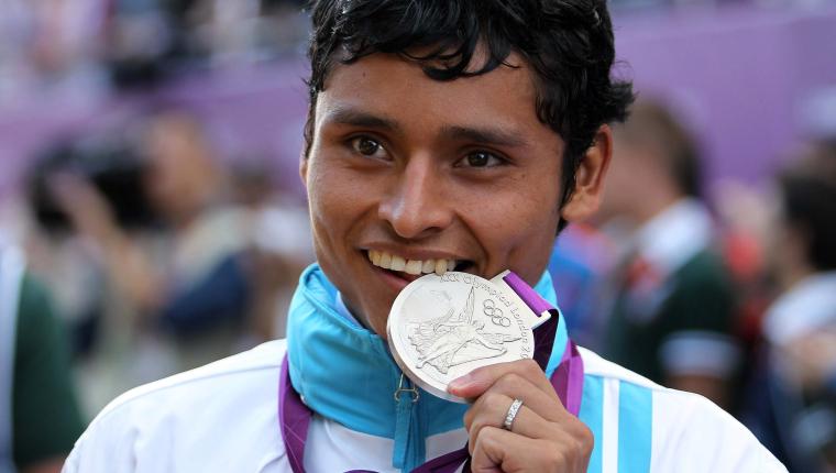 Erick Barrondo logró la primera medalla para Guatemala en Juegos Olímpicos, al ganar la plata en 20 kilómeteros de marcha de Londres 2012.  Foto Romeo Rios