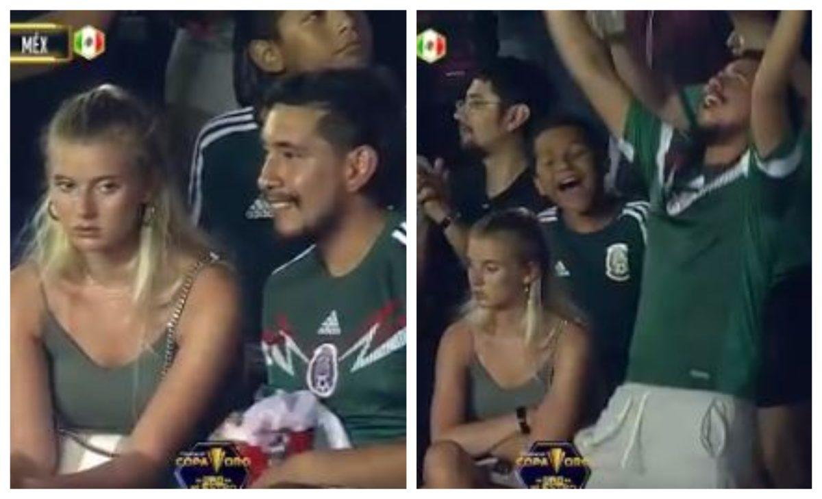 La pareja que se hizo viral durante el triunfo de México sobre Guatemala en la Copa Oro