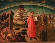 Alegoría de La Divina Comedia de Domenico di Michelino. Dante sostiene su obra. A un lado está Florencia y al otro, una visión del infierno. Detrás de Dante, humanos que intentan ascender al cielo.