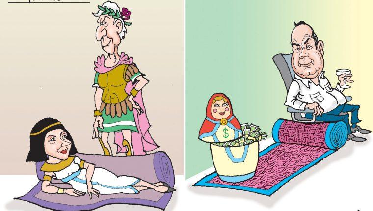 Personajes: Cleopatra, Julio César y Alejandro Giammattei.