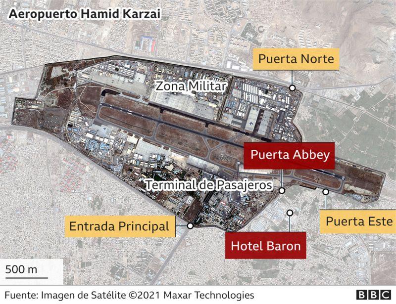 En rojo el escenario de los atentados.