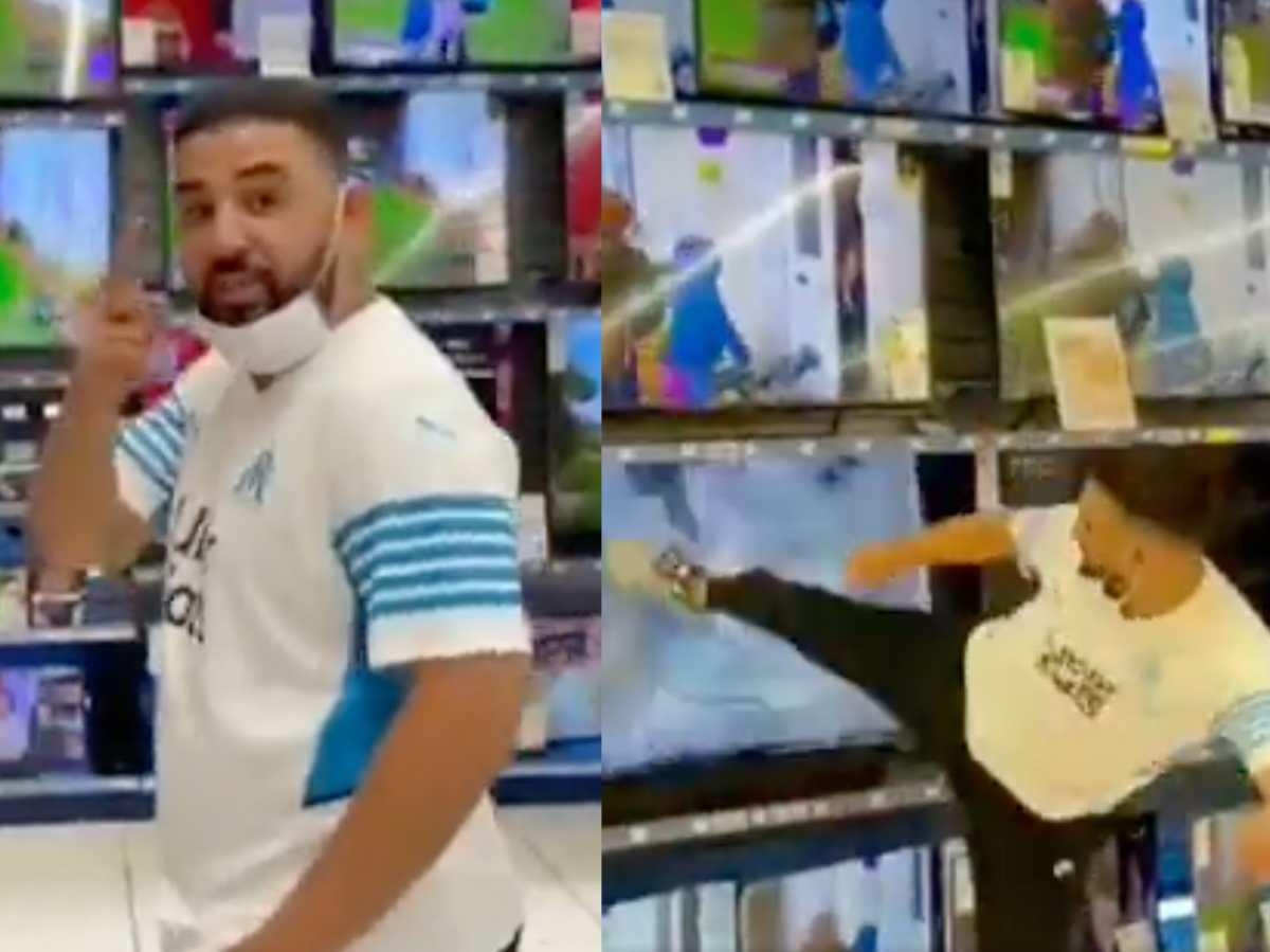 Llegada de Messi al PSG provoca furia de aficionado quien destruye a patadas varios televisores