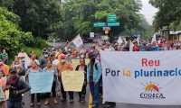 Integrantes de Codeca anuncian una serie de manifestaciones para el lunes 9 de agosto en al menos 38 puntos de Guatemala. (Foto Prensa Libre: Codeca)