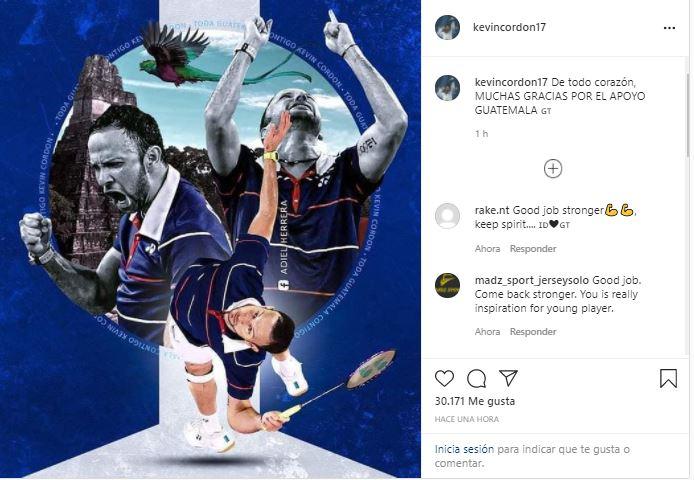 """""""Muchas gracias por el apoyo, Guatemala"""", el primer mensaje de Kevin Cordón quien recibirá un diploma olímpico por su brillante participación"""