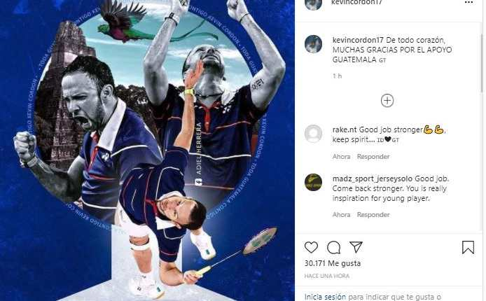 Este es el mensaje que publicó Kevin Cordón en su cuenta de Instagram después de haber alcanzado el cuarto lugar en los Juegos Olímpicos de Tokio 2020.