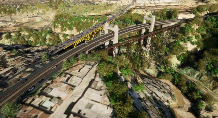 Nuevo puente que se pretende construir a un costado del puente Belice para mejorar la movilidad en la metrópoli. (Foto Prensa Libre: Cortesía Municipalidad de Guatemala)