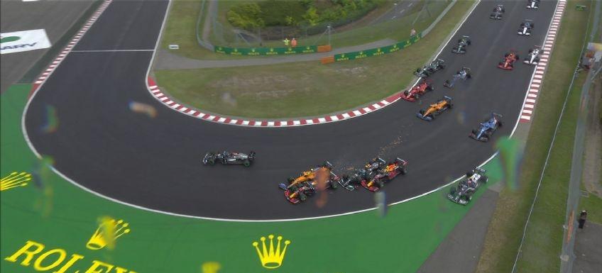 ¡Increible! El Gran Premio de Hungría de Fórmula 1 dio inicio con un un accidente múltiple y dejó fuera a tres corredores
