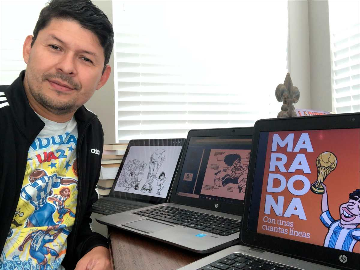 Chaveztoon, el caricaturista hondureño que creó 120 caricaturas de Diego Armando Maradona, el mejor 10 de toda la historia