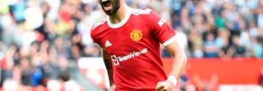 Bruno Fernandes, jugador del Manchester United. (Foto Prensa Libre: EFE)