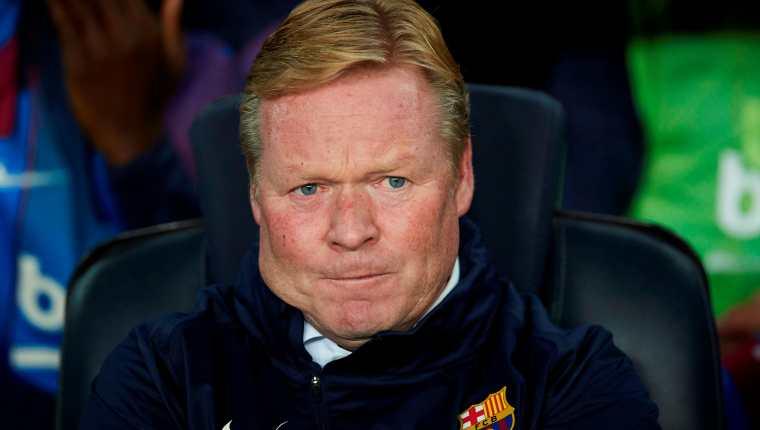 El técnico neerlandés del FC Barcelona, Ronald Koeman, durante el encuentro correspondiente a la quinta jornada. (Foto Prensa Libre: EFE)