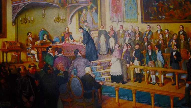 Un cuadro recrea el momento en que se llevó a cabo la firma del acta de Independencia de Centroamérica, la mañana del 15 de septiembre de 1821. (Foto Prensa Libre: Hemeroteca)
