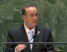 Giammattei durante su discurso en la 76 Asamblea General de Naciones Unidas. (Foto Prensa Libre: Gobierno de Guatemala)