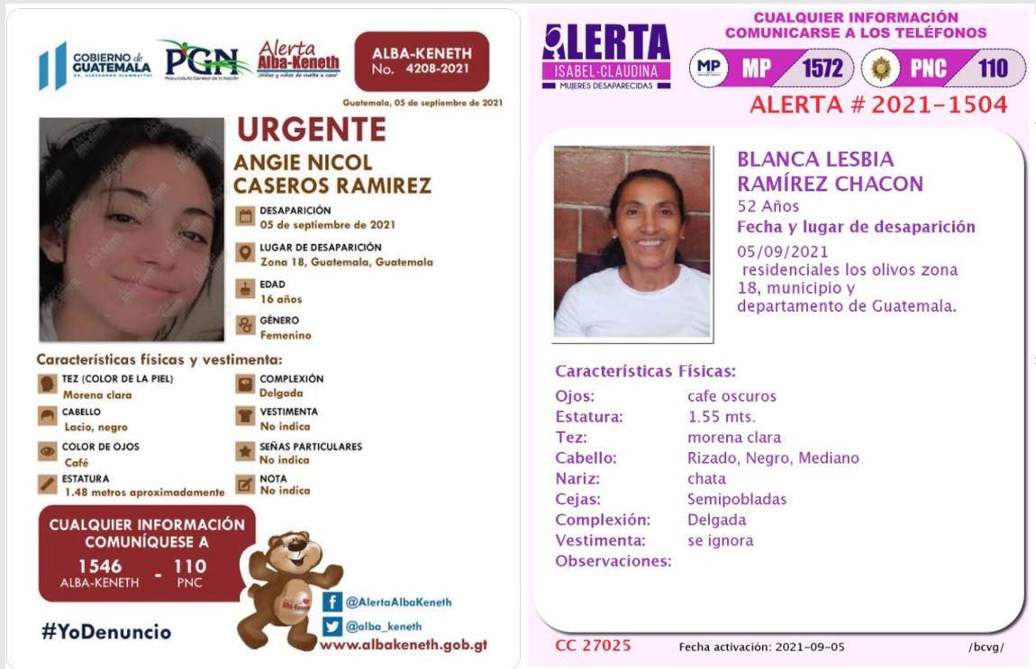 Qué dicen las autoridades sobre la madre e hija que tenían alertas Isabel-Claudina y Alba-Keneth y fueron halladas sin vida en San Pedro Ayampuc