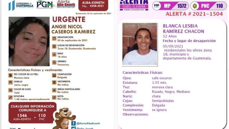 Alertas por la desaparición de Angie Nicol Caseros Ramírez y su mamá Blanca Lesbia Ramírez Chacón. (Foto Prensa Libre:)