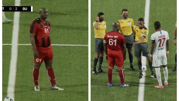 El vicepresidente de Surinam, Ronnie Brunswijk, de 60 años, alineó en el partido de club Inter Moengotapoe en la Concacaf. (Fotos cortesía).