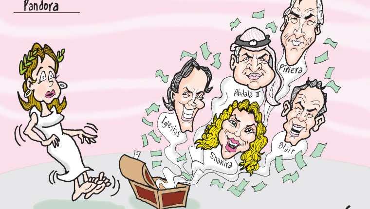 Personajes: Julio Iglesias, Shakira, Abdul II, Tony Blair y Sebastián Piñera.