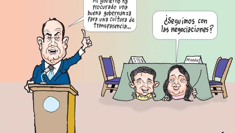 Personajes: Alejandro Giammattei, Joviel Acevedo y Claudia Ruiz.