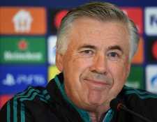 El entrenador del Real Madrid Carlo Ancelotti en conferencia de prensa antes de medirse al Shakhtar Donetsk en la Champions. (Foto Prensa Libre: AFP)