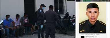 Roberto Iván Quiché López, ex agente de la PNC, – foto inserto – se fugó de un juzgado en Retalhuleu donde iba a prestar declaración. (Foto Prensa Libre: Victoria Ruiz)