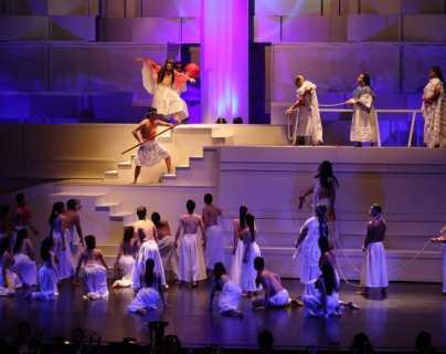 La Ópera Quiché Vinak se presentó el 20 de octubre de 2021 en el Centro Cultural Miguel Ángel Asturias. La obra fue declarada Patrimonio Cultural Intangible de la Nación. (Foto Prensa Libre: Érick Ávila)