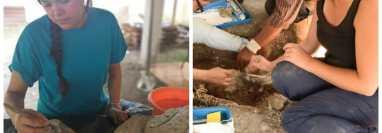 Flory Pinzón, de celeste y María Belén Méndez, de pantalón azul, en imágenes que muestran su trabajo dentro de la reciente investigación.   en México.  ((Foto Prensa Libre: cortesía Proyecto Arqueológico Usumacinta Medio).