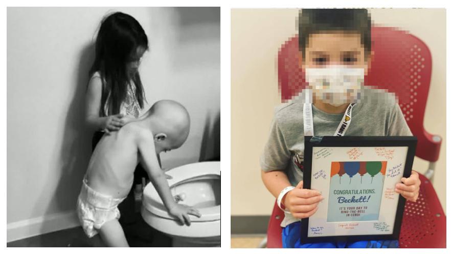 Beckett, el niño con cáncer al que consolaba su hermana en una foto que se hizo viral, venció la enfermedad