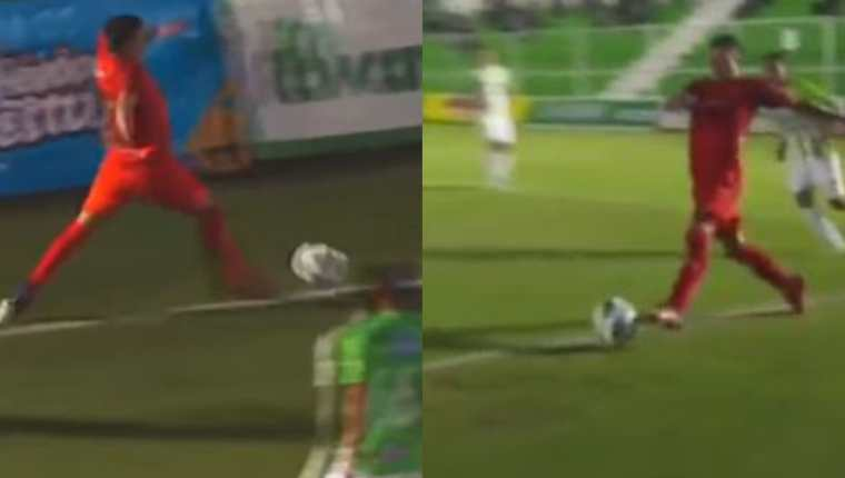 De acuerdo con la cuenta VAR 502, especializada en el arbitraje guatemalteco, señaló que el gol de Municipal no debió contar porque el balón abandonó el terreno de juego totalmente. Foto captura de pantalla.