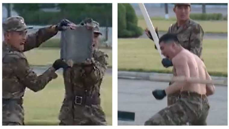 """Militares norcoreanos dan brutal muestra de """"fuerza, valentía y moral"""". (Foto Prensa Libre: Twitter)"""